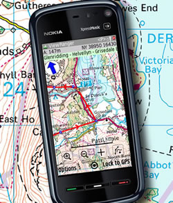 Ordnance Survey map on a Nokia 5800
