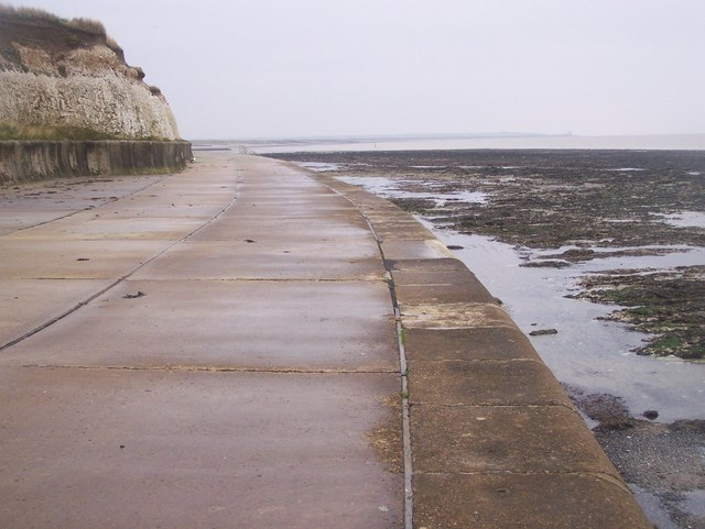 Cycling Kent Coast, View Along Sea Wall Promenade, near Greenham Bay - geograph.org.uk - 1035508